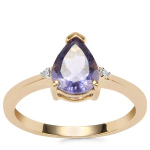 Bengal Iolite Ring with Diamond in 10K Gold 1.25cts