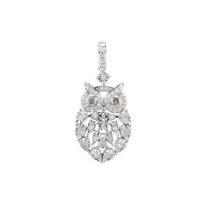 Champagne Diamond Owl Pendant with White Diamond in Sterling Silver 0.52ct