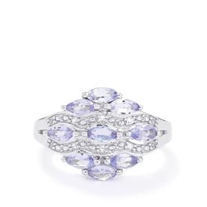 Tanzanite & White Topaz Sterling Silver Ring ATGW 1.16cts