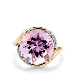 Rose De France Amethyst & Diamond 9K Gold Ring ATGW 7.08cts
