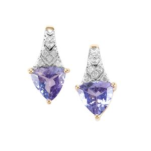 AA Tanzanite Earrings with Diamond in 10K Gold 1.23cts