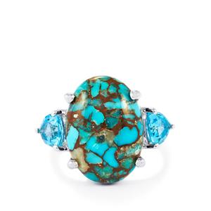 Egyptian Turquoise & Swiss Blue Topaz Sterling Silver Ring ATGW 10.92cts
