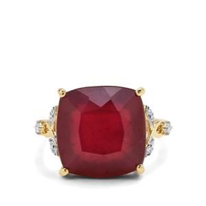 Malagasy Ruby Ring with White Zircon in 9K Gold 16.56cts (F)