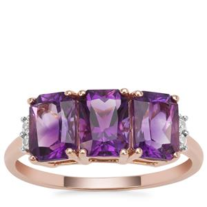 Moroccan Amethyst Ring with White Zircon in 9K Rose Gold 2.81cts