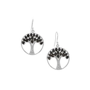 7.23ct Black Spinel Sterling Silver Tree of Life Earrings