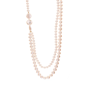 Kaori and Baroque Cultured Pearl Gold Tone Sterling Silver Necklace