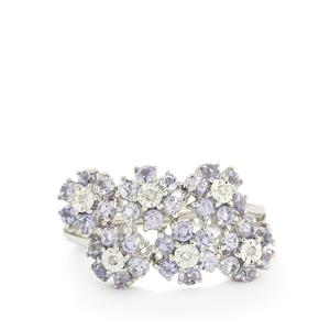 Tanzanite & Diamond Sterling Silver Halo Diamonds Ring ATGW 1.57cts