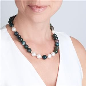 Kaori Cultured Pearl Necklace with Multi-Colour Agate in Sterling Silver