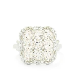 Zambezia Morganite & White Topaz Sterling Silver Ring ATGW 2.24cts