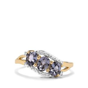Mahenge Blue Spinel Ring with Diamond in 10K Gold 1.13cts