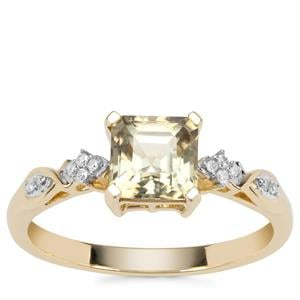 Asscher Cut Csarite® Ring with Diamond in 9K Gold 1.34cts