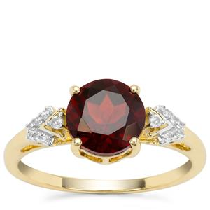 Madeira Citrine Ring with White Zircon in 9K Gold 1.62cts