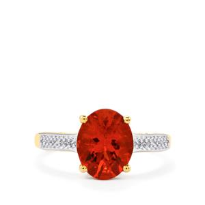 Tarocco Red Andesine Ring with Diamond in 10k Gold 1.95cts