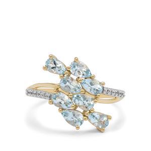 Santa Maria Aquamarine & White Zircon 9K Gold Ring ATGW 1.50cts