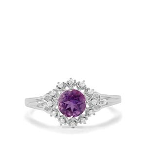 Moroccan Amethyst & White Zircon Sterling Silver Ring ATGW 0.92cts