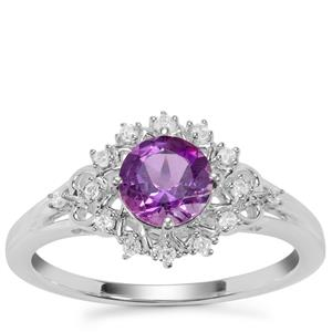 Moroccan Amethyst Ring with White Zircon in Sterling Silver 0.92cts