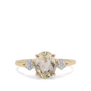 Minas Novas Hiddenite Ring with Diamond in 9K Gold 2.23cts