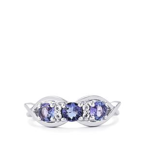 AA Tanzanite Ring with White Topaz in Sterling Silver 1ct