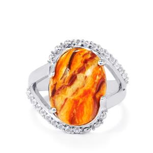 Lion's Paw Shell (16x12mm) & 0.37cts White Topaz Sterling Silver Ring