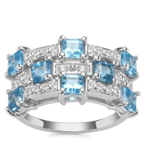 Swiss Blue Topaz Ring with White Zircon in Sterling Silver 2.24cts