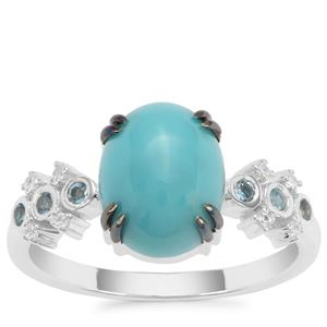 Sleeping Beauty Turquoise, London Blue Topaz Ring with White Zircon in Sterling Silver 2.70cts