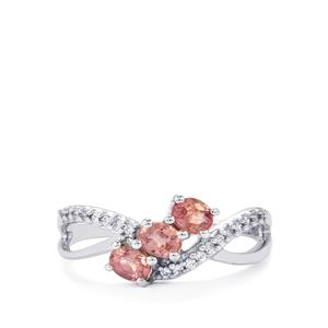 Padparadscha Sapphire Ring with White Zircon in 10K White Gold 0.81cts