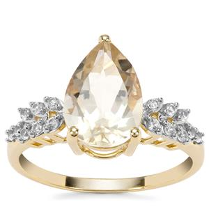 Cuprian Sunstone Ring with Ceylon White Sapphire in 9K Gold 2.85cts