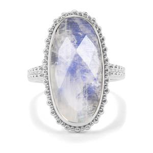 11.28ct Rainbow Moonstone Sterling Silver Ring