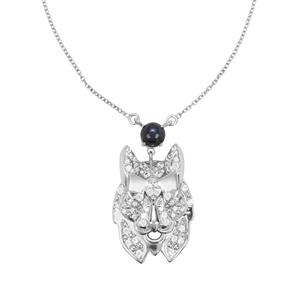 Blue Star Sapphire & White Zircon Sterling Silver Necklace ATGW 4cts