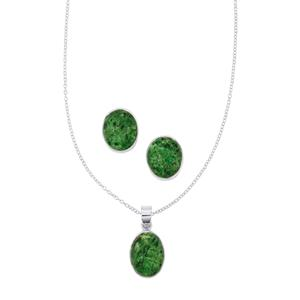 Maw Sit Sit Set of Necklace & Earrings in Sterling Silver 17.33cts