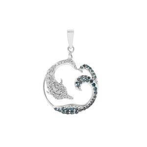 Blue Diamond Dolphin Pendant with White Diamond in Sterling Silver 0.75ct