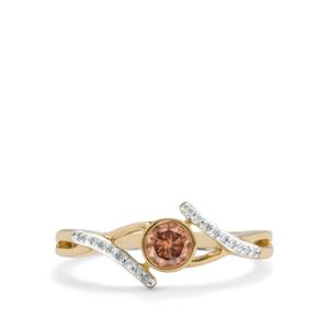 Natural Coloured Diamond Ring with White Diamond in 10K Gold 0.36ct