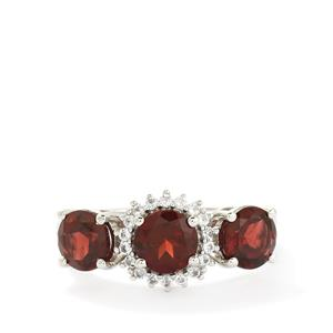 Rajasthan Garnet & White Topaz Sterling Silver Ring ATGW 3.25cts