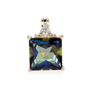 Mystic Blue Topaz Pendant with Diamond in 9K Gold 9.82cts