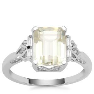 Minas Novas Hiddenite Ring with White Zircon in 9K White Gold 3.29cts