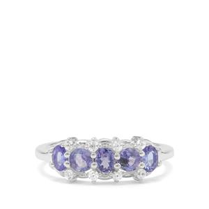 Tanzanite Ring with White Zircon in Sterling Silver 1.10cts