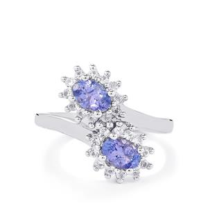 A  Tanzanite & White Topaz Sterling Silver Ring ATGW 1.36cts