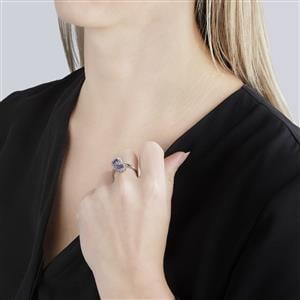 A  Tanzanite Ring with White Topaz in Sterling Silver 1.36cts