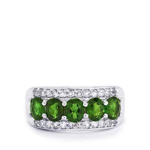 Chrome Diopside & White Topaz Sterling Silver Ring ATGW 2.46cts