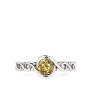 Baltic Green Amber Ring in Sterling Silver (5mm)