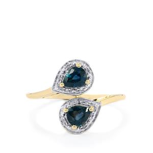 Natural Nigerian Blue Sapphire Ring with Diamond in 10k Gold 0.78cts