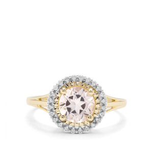 Alto Ligonha Morganite & White Zircon 9K Gold Ring ATGW 1.37cts