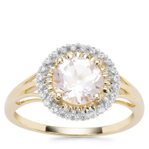 Alto Ligonha Morganite Ring with White Zircon in 9K Gold 1.37cts