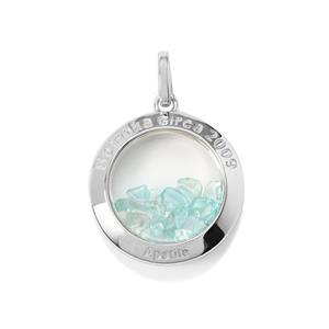Optic Quartz & Madagascan Blue Apatite Sterling Silver Moments Pendant ATGW 11.43cts