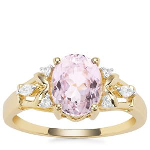Nuristan Kunzite Ring with White Zircon in 9K Gold 2.51cts