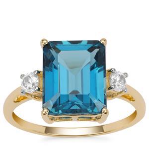 Marambaia London Blue Topaz Ring with White Zircon in 9K Gold 5.85cts