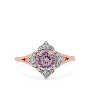 Kolum Kunzite & White Zircon 9K Rose Gold Ring ATGW 1.85cts