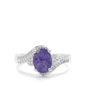AA Tanzanite Ring with White Zircon in Sterling Silver 2.37cts