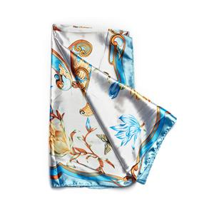 Destello Floral & Butterfly Print Scarf - Ivory & Sky Blue