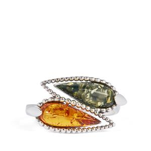 Baltic Cognac Amber Ring with Baltic Green Amber in Sterling Silver (12 x 4mm)